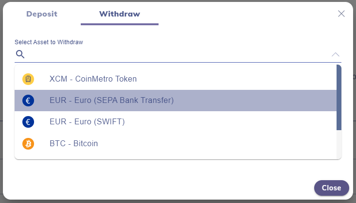select bank account to withdraw your bitcoin