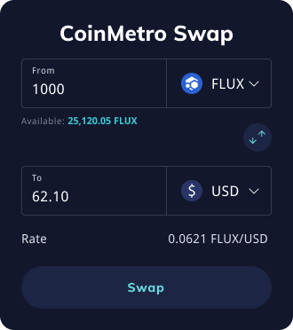 Simple crypto swaps on CoinMetro
